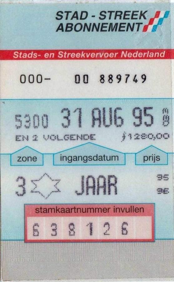 RET 1995 jaarabonnement stad streek 3 zones 1280,- -a