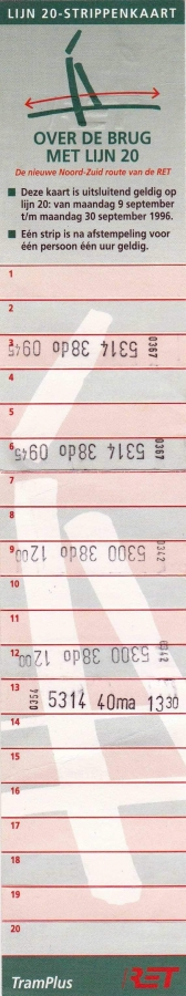 RET 1996 20 strippenkaart lijn 20 -a