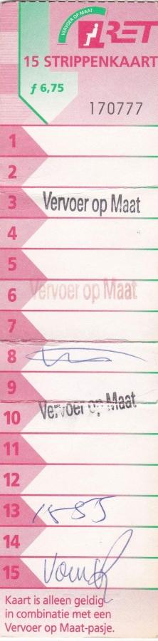 RET 1997 15 strippenkaart Vervoer op maat 6,75 -a