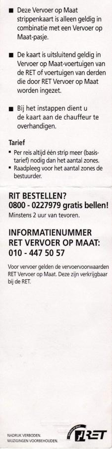 RET 2000 vervoer op maat 15 strippenkaart f. 7,25 achterzijde -a
