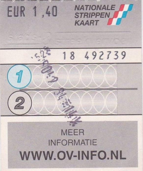 RET 2002 Nationale 2 strippenkaart 1,40 -a