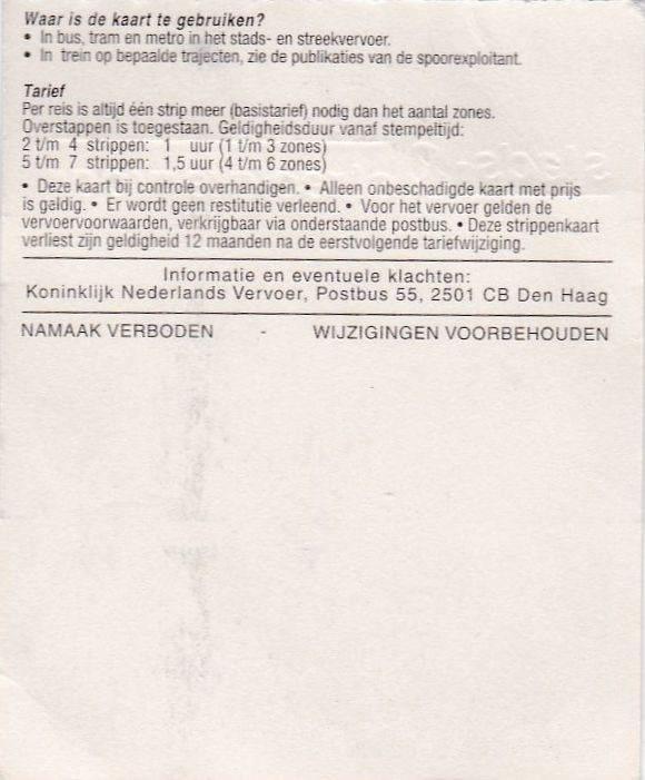 RET 2002 Nationale 2 strippenkaart 1,40 achterzijde -a