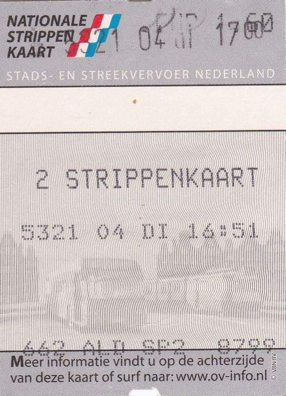 RET 2003 Nationale 2 strippenkaart  1,60 -a
