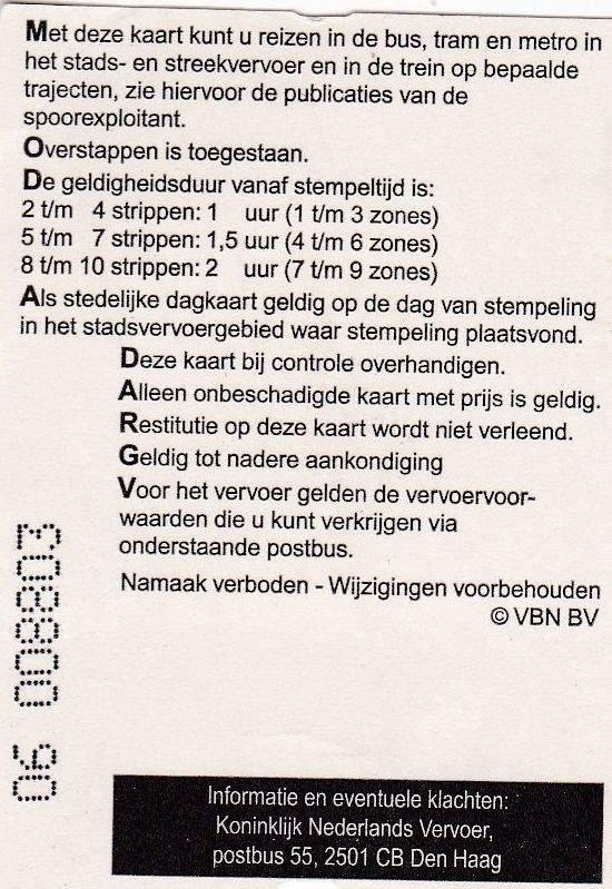 RET 2003 nationale 2 strippenkaart achterzijde 1,40 -a