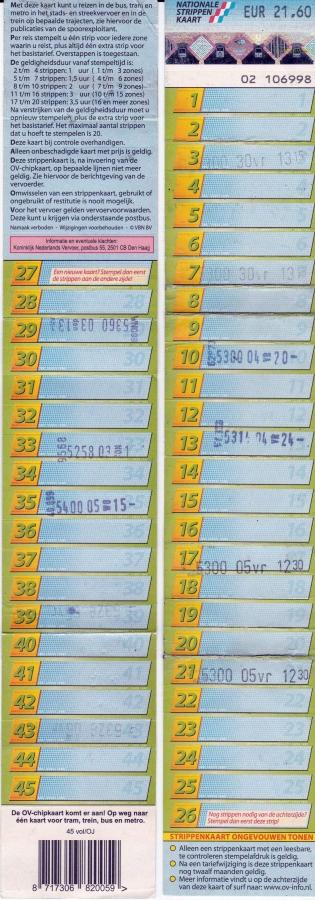 RET 2009 nationale 45 strippenkaart 21,60 -a