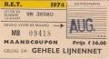 RET 1974 maandcoupon gehele lijnennet 36,00 (62) -a