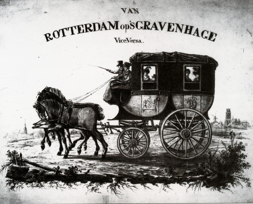 De postkoets van Rotterdam naar Den Haag met een driespan. ca. 1830.
