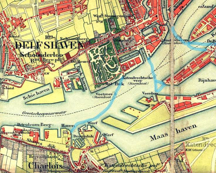 Een stafkaart uit 1889 toont de situatie net na het graven van de Rijnhaven. Duidelijk is te zien dat Katendrecht en Charlois nog zelfstandige dorpjes waren in een agrarisch landschap en dat op de kaart een aantal dijken genoemd worden die we ook nu nog kennen zoals de Hilledijk en de Sluisjesdijk. De Zeedijk is later de Katendrechtse Lagedijk geworden. Op de noordoever van de Nieuwe Maas, tussen Delfshaven en Rotterdam wordt de buurtschap Schoonderloo nog aangegeven.