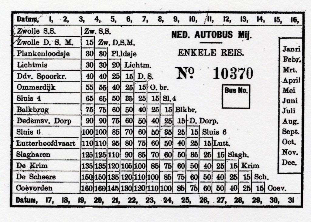 Een plaatsbewijs van de Nederlandsche Autobus Maatschappij.