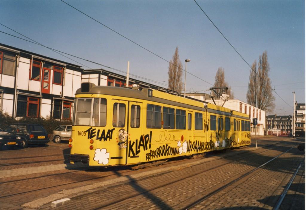 Motorrijtuig 1605 als de Tingelingtram, centrale werkplaats RET, Kleiweg, 10-2-2003