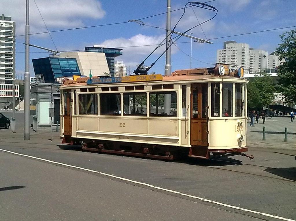 Motorrijtuig 192, de eerste serie met afgesloten balkons, als museumrijtuig.