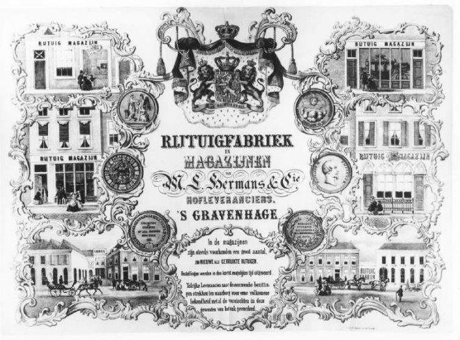 Een affiche van leverancier M.L. Hermans uit 1860
