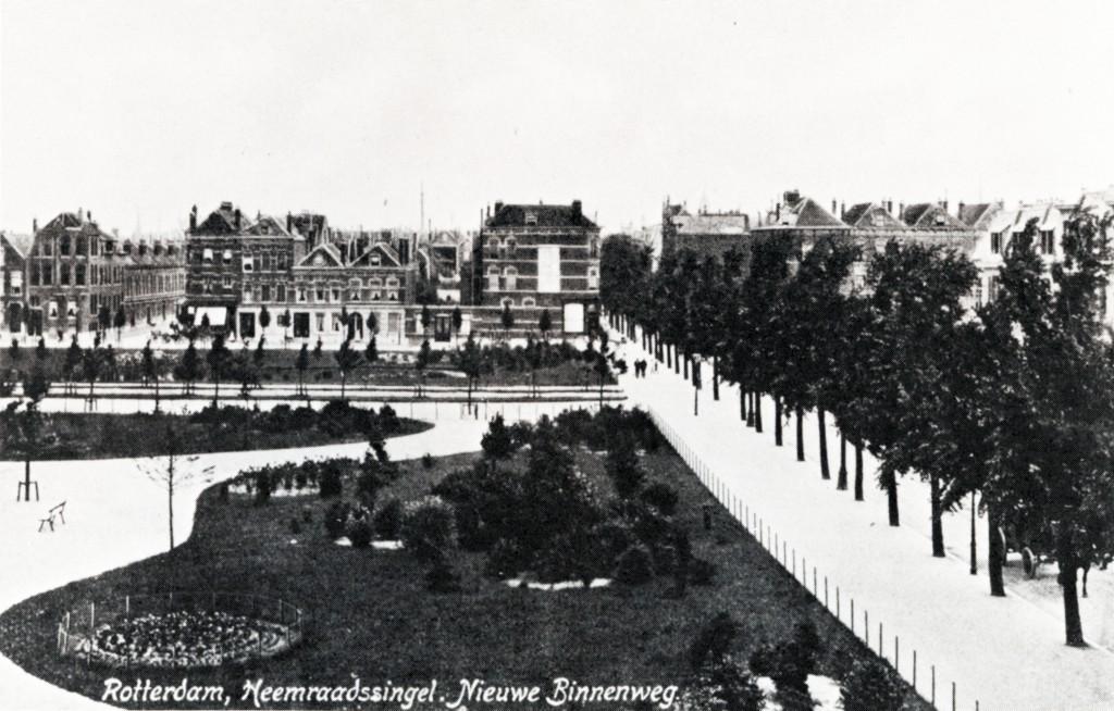Heemraadsplein met de Heemraadsingel ten noorden en de Nieuwe Binnenweg rechts. 1907.