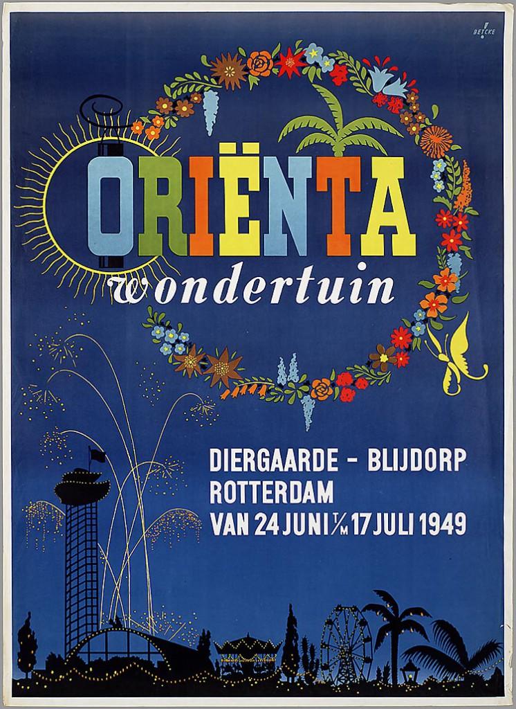 Affiche voor de Oriënta Wondertuin tentoonstelling in Diergaarde Blijdorp, 1949