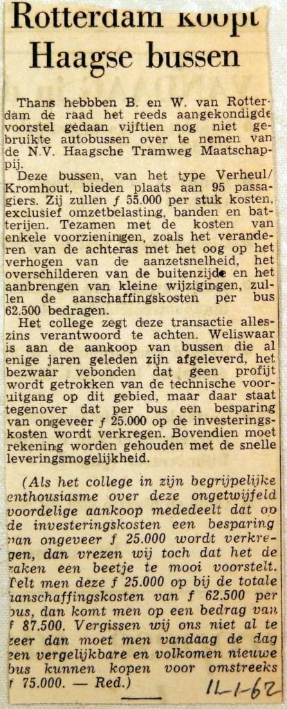 19620111 Rotterdam koopt Haagse bussen