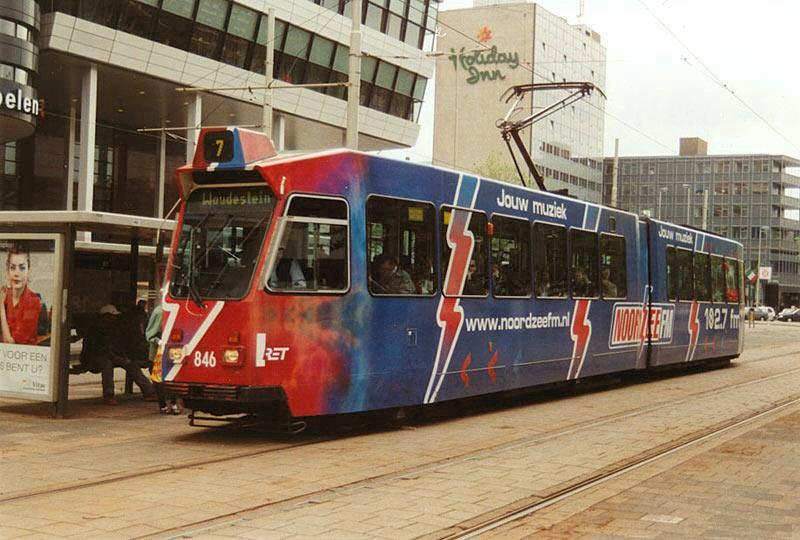 Motorrijtuig 846, lijn 7, Kruisplein, reclametram Noordzee FM