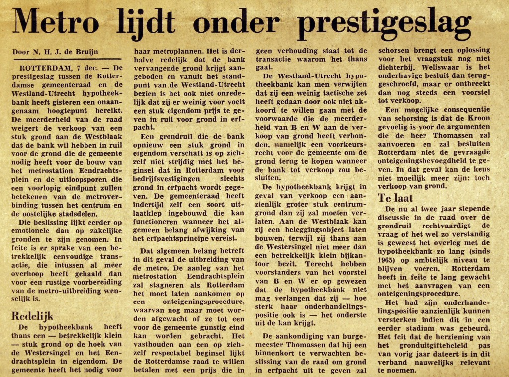 19731107 Metro prestigeslag. (NRC)