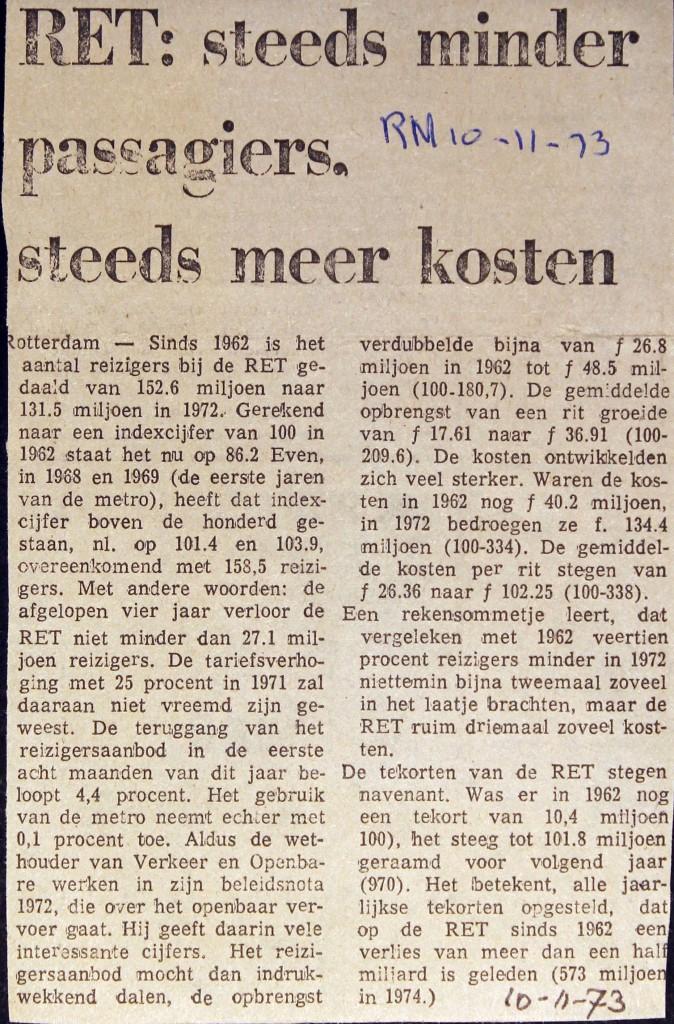 19731110 Minder passagiers, (RN)