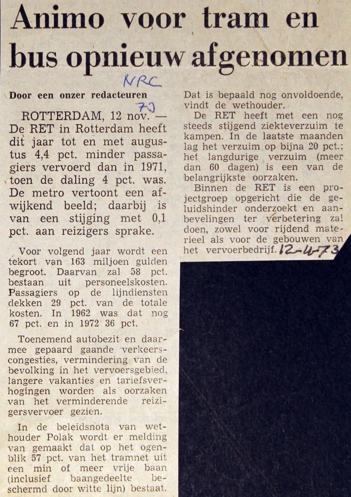 19731112 Animo voor tram. (NRC)
