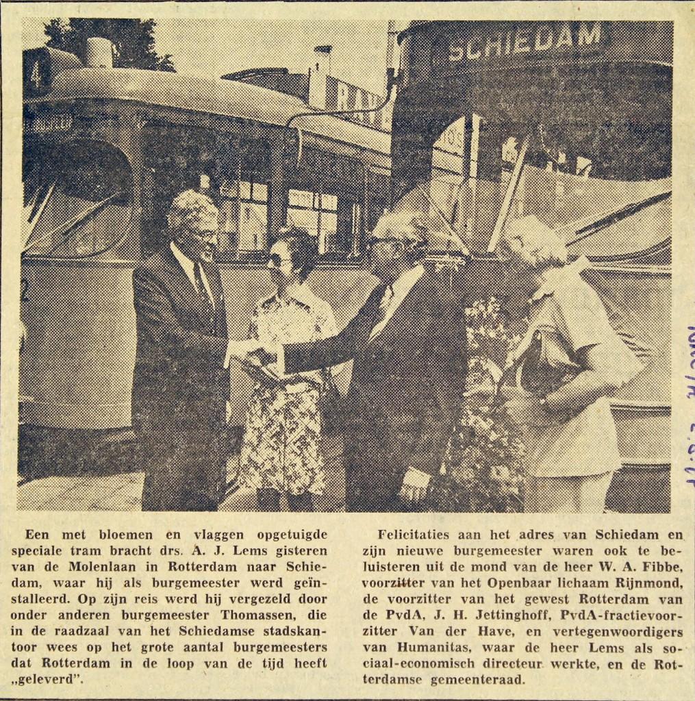 19740802 Burgemeester naar Schiedam. (NRC)