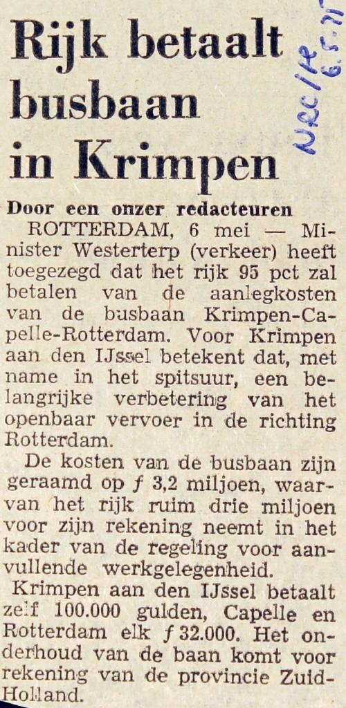 19750506 Rijk betaalt busbaan. (NRC)