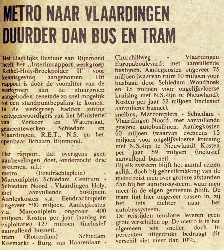 19750701 Metro Vlaardingen duurder. (Groot Vlaard.)
